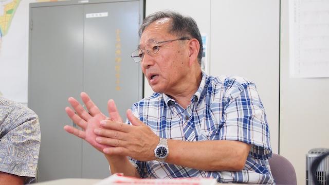 ふるさと豊間復興協議会の遠藤守俊会長。「ゼロからまちづくり、ここで一緒に始めましょう!待っています!」