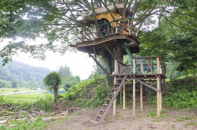 工房を見下ろせる高台には、「大人にも大人気」(佐藤さん)というツリーハウスも。