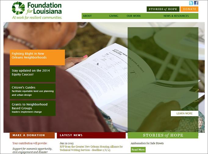 ルイジアナ財団のWEBサイト